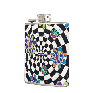 Rainbow Daisies Kaleidoscope Hip Flasks