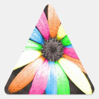 Rainbow daisy flower triangle sticker