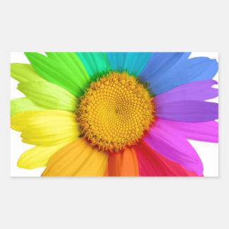 Rainbow Daisy Rectangular Sticker