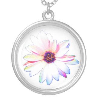 Rainbow daisy round pendant necklace