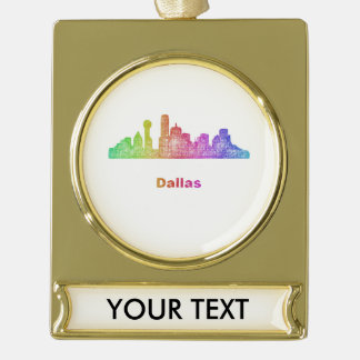 Rainbow Dallas skyline Gold Plated Banner Ornament