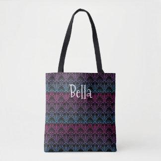 Rainbow Damask Black Pink Blue Purple Art Name Tote Bag