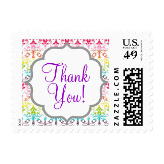 Rainbow Damask Pattern Postage Stamps