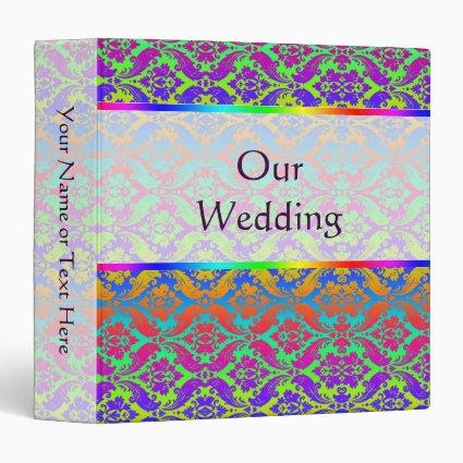 Rainbow Damask Wedding Binder