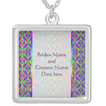 Rainbow Damask Wedding Necklace