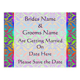 Rainbow Damask Wedding Save The Date Postcard