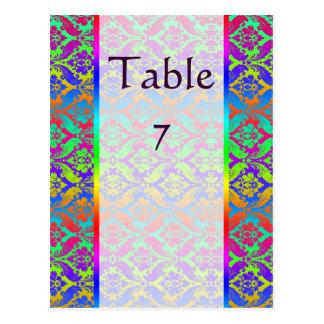 Rainbow Damask Wedding Table Numbers Postcard