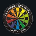 "Rainbow Dartboard with custom text<br><div class=""desc"">Dartboard with rainbow colors and two custom text areas.</div>"