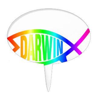 Rainbow Darwin Fish Cake Topper