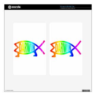 Rainbow Darwin Fish Kindle Fire Skins