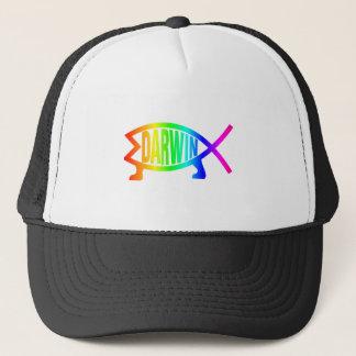 Rainbow Darwin Fish Trucker Hat