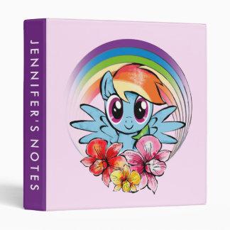 Rainbow Dash   Floral Watercolor Rainbow 3 Ring Binder