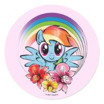 Rainbow Dash | Floral Watercolor Rainbow Classic Round Sticker