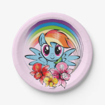 Rainbow Dash | Floral Watercolor Rainbow Paper Plate