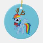 Rainbow Dash Reindeer Ceramic Ornament