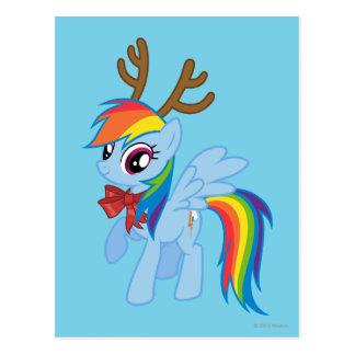 Rainbow Dash Reindeer Postcard