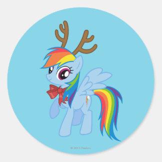 Rainbow Dash Reindeer Classic Round Sticker