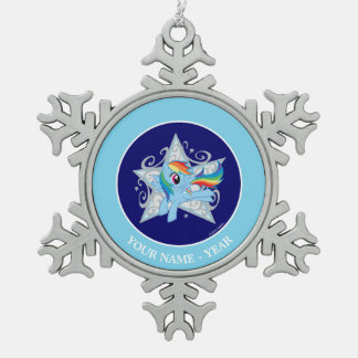 Rainbow Dash Star Snowflake Pewter Christmas Ornament