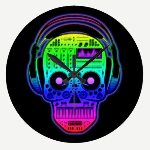 Rainbow Day Of Dead Sugar Skull DJ With Headphones Large Clock