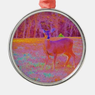 Rainbow Deer in a Field Christmas Ornament