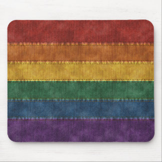 Rainbow Denim Flag Mouse Pad
