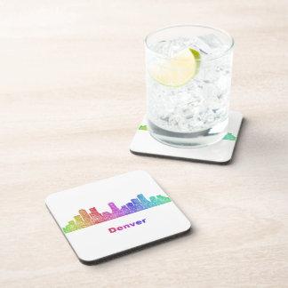 Rainbow Denver skyline Beverage Coaster