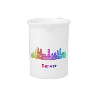 Rainbow Denver skyline Beverage Pitcher