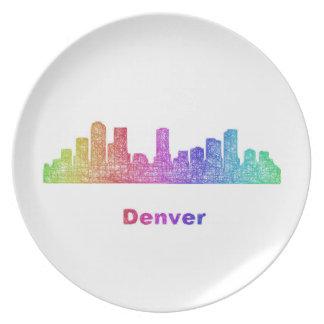 Rainbow Denver skyline Dinner Plate