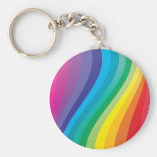 Rainbow design basic round button keychain