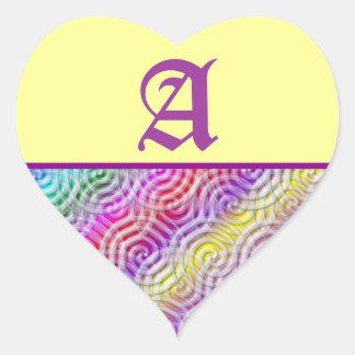 Rainbow Design Monogram Letter A Sticker