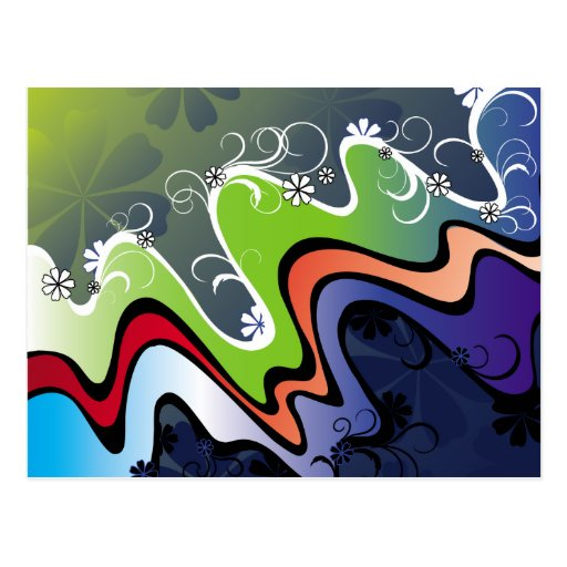 rainbow design postcard