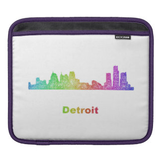 Rainbow Detroit skyline iPad Sleeve