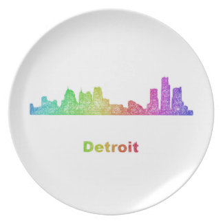 Rainbow Detroit skyline Melamine Plate