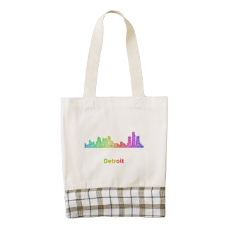 Rainbow Detroit skyline Zazzle HEART Tote Bag