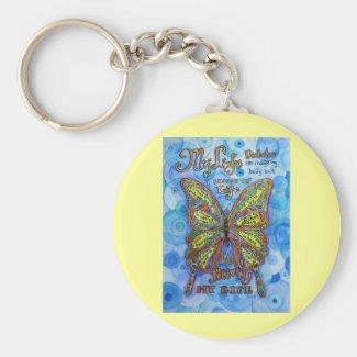 Rainbow Diabetes Butterfly Keychain