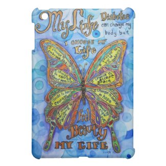 Rainbow Diabetes Butterfly Poem iPad Case