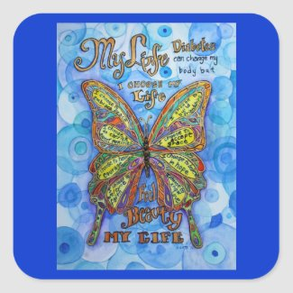 Rainbow Diabetes Butterfly Support Label Stickers