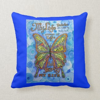Rainbow Diabetes Butterfly Support Poem Pillows