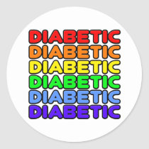 Rainbow Diabetic Classic Round Sticker