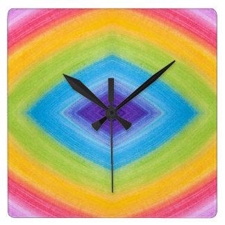 Rainbow Diamond Abstract Square Wall Clocks