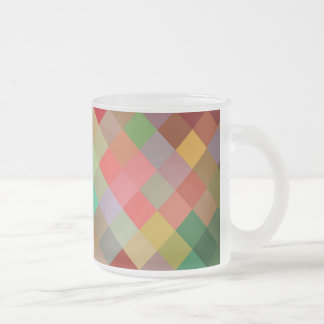Rainbow Diamond Chevron Pattern 4 Frosted Glass Coffee Mug