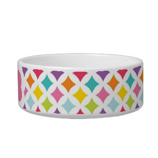 Rainbow Diamond Print Personalized Pet Water Bowls