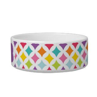 Rainbow Diamond Print Personalized Cat Food Bowl
