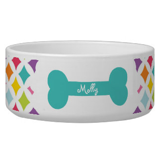 Rainbow Diamond Print Personalized Pet Food Bowl