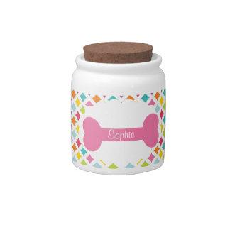 Rainbow Diamond Print Personalized Treat Jar Candy Jar