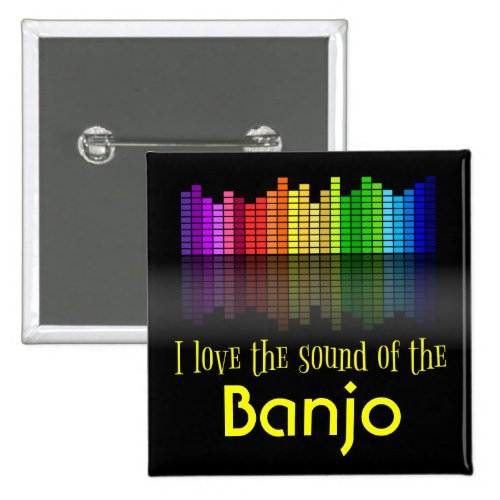 Rainbow Digital Sound Equalizer Banjo 2-inch Square Button