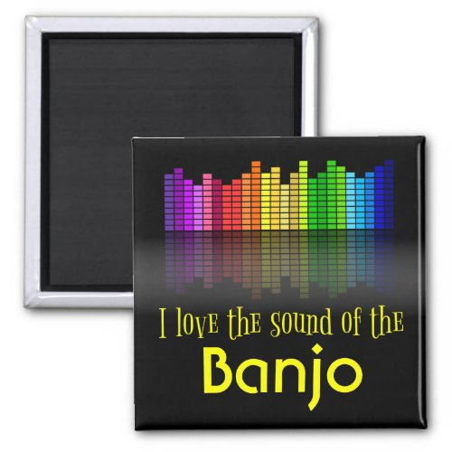 Rainbow Digital Sound Equalizer Love Sound Banjo 2-inch Square Magnet