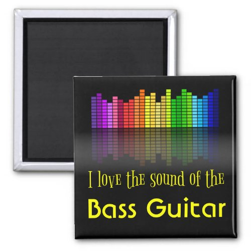 Rainbow Digital Sound Equalizer Love Sound Bass Guitar 2-inch Square Magnet