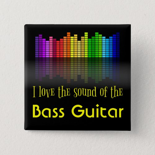 Rainbow Digital Sound Equalizer Love the Sound of the Bass Guitar Square Button