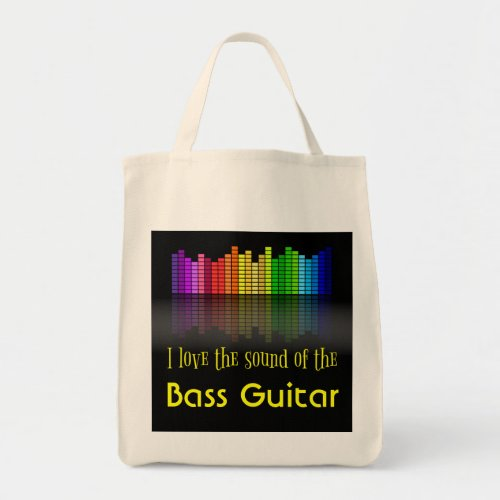 Rainbow Digital Sound Equalizer Bass Guitar Grocery Tote Bag